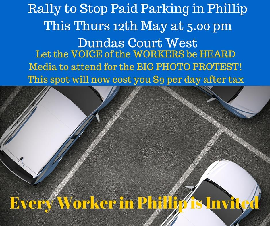 rally against paid parking 12th May